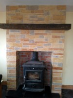 Wallcrete / decorative walling on a fireplace designed by GM Hard Landscapes, Donegal