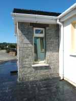 Wallcrete / decorative walling on the outside of a porch as designed by GM Hard Landscapes, Donegal